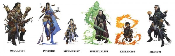 The Icons for the six classes in the Occult Adventures.