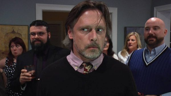 Patrick (Scott Cummings) after being bitch-slapped by Dr. Frances Stein (PJ Woodside).