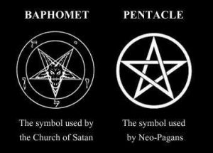 The Baphomet (of Satanism) is often confused with the Pentacle (of Neo-Paganism).