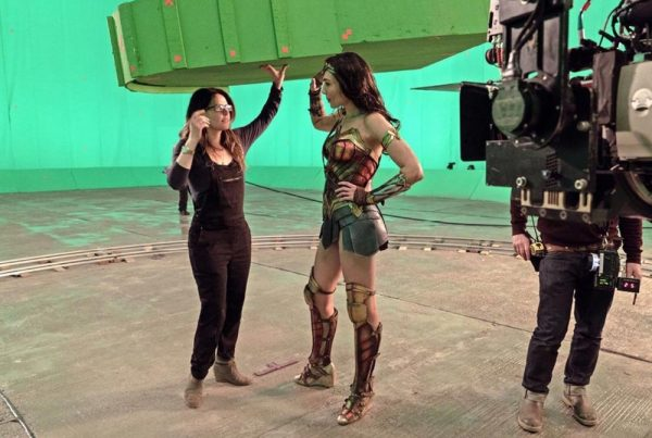 Jenkins chats with Gadot about an FX shot which will let her hurl a tank.